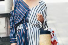 02 a cool dress with stripe prints in various colors and a wicker bucket bag for a sea holiday