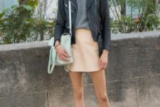 02 a grey tee, a peachy mini skirt, a black leather jacket, white sneakers and a mint bag