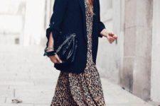 02 a leopard print midi dress, an oversized black blazer, black sneakers and a large black bag