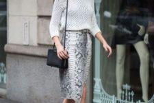 02 a snake print midi skirt, a crochet white top, strappy heels and a black bag