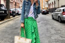 02 a white tee, a green midi ruffle skirt, a denim jackets, neutral loafers and a neutral bag