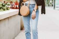 02 a white tee, blue jeans, white sneakers, a black leather jacket, a tan bag for a trendy spring casual outfit