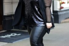 03 a black sequin top, leather leggings, nude shoes and a sheer black blazer for a party