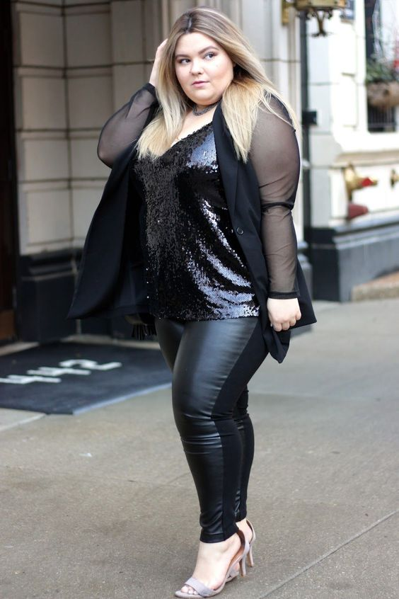 a black sequin top, leather leggings, nude shoes and a sheer black blazer for a party