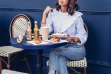 03 a blue thin stripe shirt with ruffles, blue cropped jeans, cremay and blush slingbacks and a blush bag