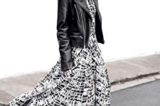 03 a monochromatic outfit with a black and white midi dress, a black leather jacket, white sneakers