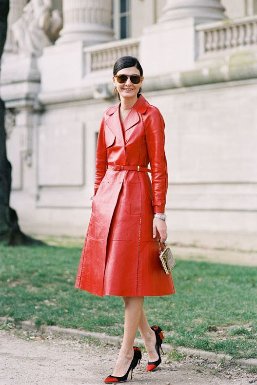 a red leather trench is a nice outer garment especially with an accented waist and black and red shoes with bows for retro chic