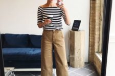 03 a striped top, camel culottes, nude heeled sandals for a chic everyday look