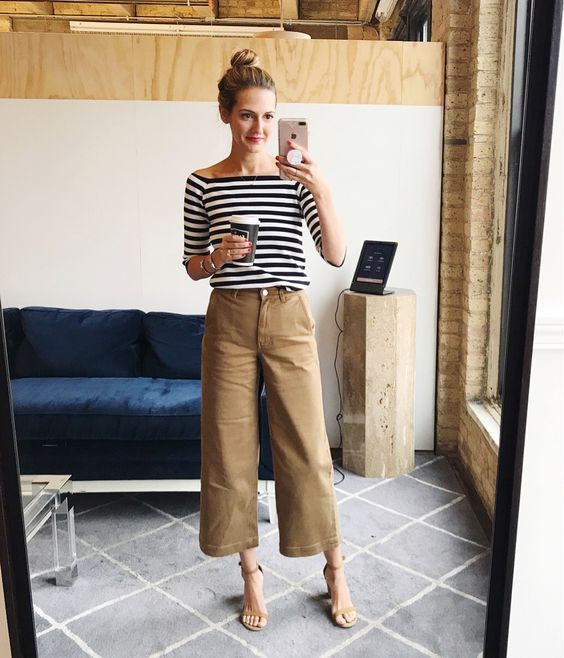 a striped top, camel culottes, nude heeled sandals for a chic everyday look