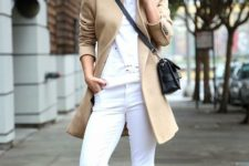 03 a white tee, white jeans, white sneakers, a camel coat and a black bag