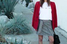 04 a draped mini, a printed tee, a red blazer, white heels and a black bag