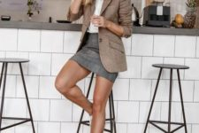 04 a white shirt, a camel blazer, a grey mini and white sneakers for a casual work outfit