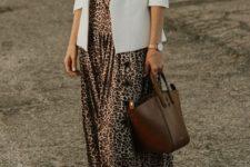 04 a white tee, a creamy blazer, a leopard midi, white sneakers and a brown bag