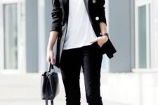 04 wear a black suit, a white tee, white sneakers and a black bag to work