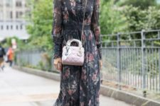 05 a moody floral prairie dress, black velvet boots and a blush bag for spring