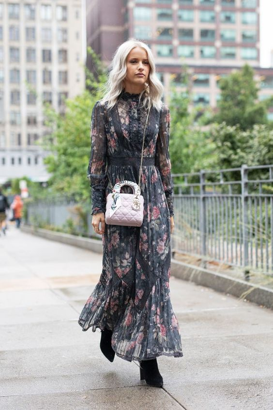 a moody floral prairie dress, black velvet boots and a blush bag for spring