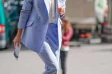 05 a sky blue pantsuit, a white shirt, white shoes for a simple and stylish graduation look