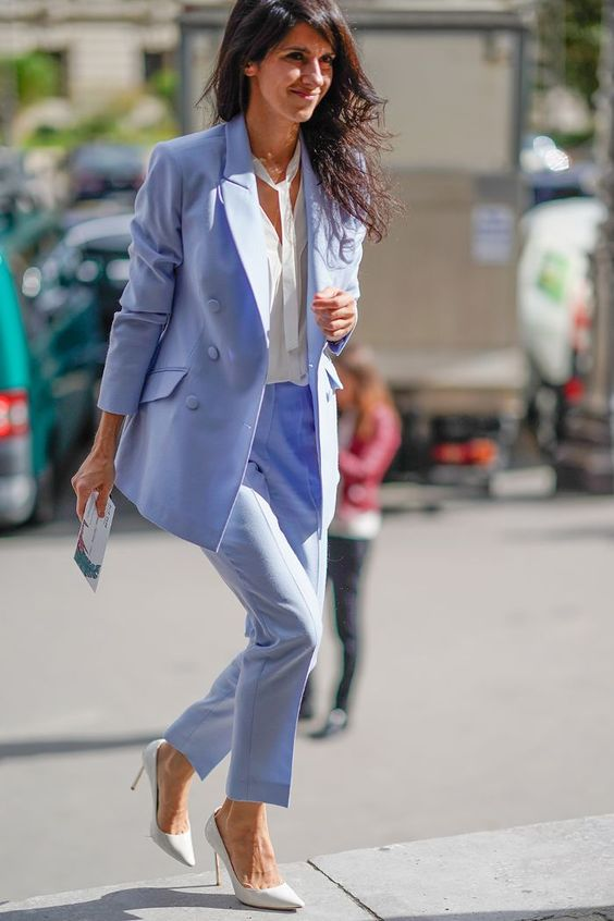 a sky blue pantsuit, a white shirt, white shoes for a simple and stylish graduation look