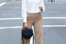 05 a white button down, camel suede culottes, a black bag and snake print shoes for work