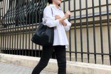 05 a white shirt, black skinnies, a black comfy bag and black flat slingbacks