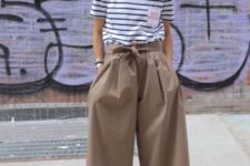 06 a striped tee, camel culottes, grey shoes for a chic yet casual outfit