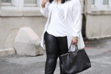 06 black leather leggings, a white draped top, a white long blazer, snake pring shoes and a black bag