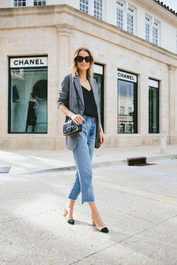 blue cropped jeans, a black tee, a grey blazer, nude and black slingbacks and a bag