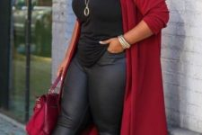07 a black top, black leather leggings, nude shoes and a red duster plus a red bag