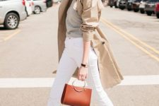 07 a grey tee, white jeans, a tan trench, brown loafers and a ring handle bag