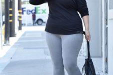 08 a black one shoulder top, grey leggings, black velvet boots and a black bag