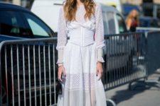 08 a white lace midi prairie dress, black boots, a burgundy har for a fashion statement