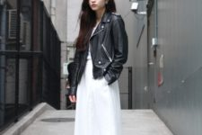 08 a white top, a white maxi skirt with pockets, white sneakers and an oversized leather jacket