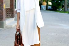 08 camel culottes, a long white blouse, a white blazer, brown strappy heels and a brown bag for work