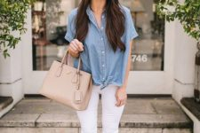 09 a chambray short sleeve shirt, white jeans, white loafers and a tan bag