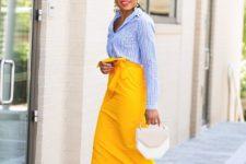 09 a striped blue shirt, a yellow pencil midi, white heels and a white geometric bag