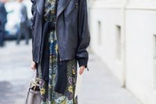 09 a vintage print midi dress, an oversized leather jacket, black boots and a grey bag