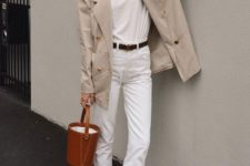 09 a white tee, white cropped jeans, a tan blazer, a brown bucket bag and brown loafer mules
