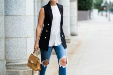 09 blue ripped jeans, a white top, a black sleeveless blazer, a camel bag and nude and black slingbacks
