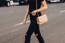 10 a black tee, black ripped jeans, a nude crossbody, nude and black slingback shoes