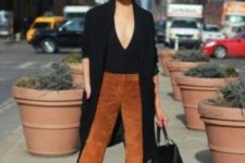 10 a black top, a black trench, camel suede cropped pants, black heels and a bag for work