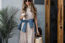10 a printed sleeveless midi dress, a chambray shirt, white loafers and a basket bag