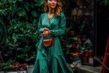 10 an emerald wrap ruffle polka dot dress, tan sandals and a matching bag