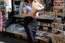 11 a black pencil midi skirt, a striped blue and white shirt, black slingbacks and sunglasses