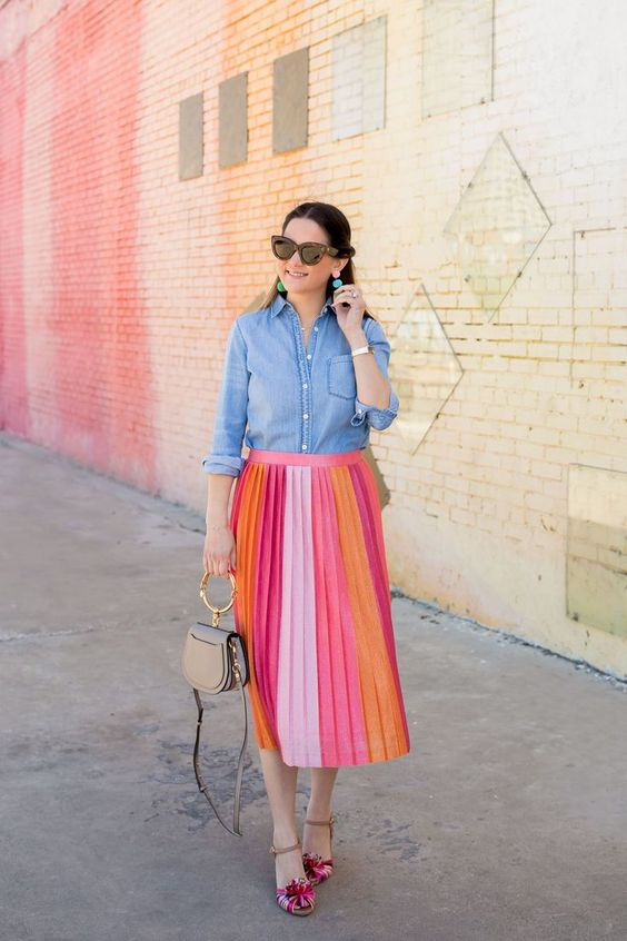a color block pleated midi skirt, a chambray shirt colorful shoes and a small bag