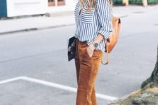 11 a striped button down, camel cropped pants, brown heeled sandals and a brown backpack