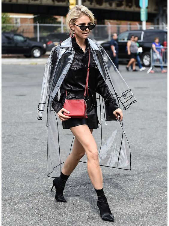 a transparent raincoat over a black leather jacket to give your look an ultra-modern feel