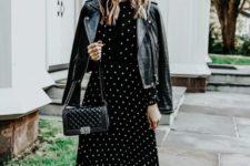 12 a black midi polka dot dress with a high neckline, black studded boots, a black leather jacket and a blakc bag