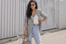 12 a white top with buttons, blue high waisted jeans, nude shoes and a grey checked blazer plus a grey bag