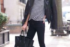 12 black jeans, a black and white striped top, a black leather jacket, a black bag