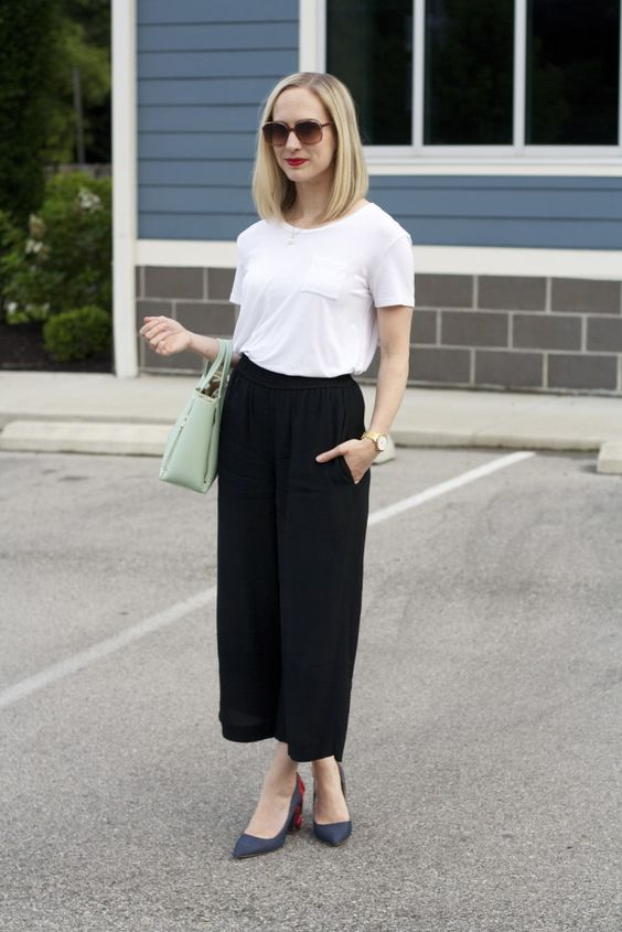 black culottes, a white tee, blue shoes and a mint bag for a simple casual look